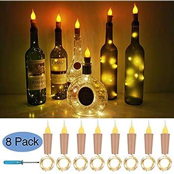 Amazon Com Flame Cork Lights For Wine Bottle 8 Pack