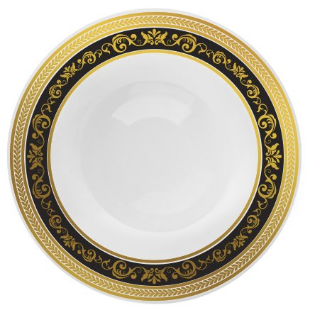 Border Soup (Posh Setting Royal Collection Combo Pack China Look White, Gold/Black Plastic Bowls (Includes 4 Packs of 7.5