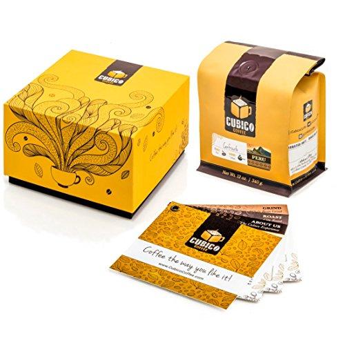 Peru Coffee - Ground Coffee - Freshly Roasted Coffee - Cubico Coffee - 12 Ounce (Single Origen Cenfrocafe Peruvian Coffee) - Gift Box