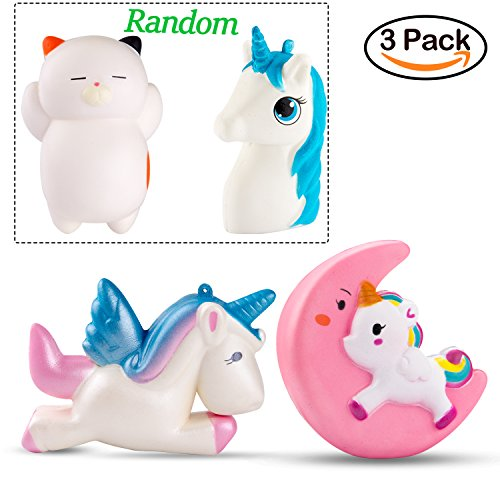 WATINC 3 Pcs Animal squishy Sweet Scented Vent Charms Slow Rising squishies Kawaii Kid Toy , Lovely Stress Relief Toy, Animals Gift Fun Large(moon unicorn set)