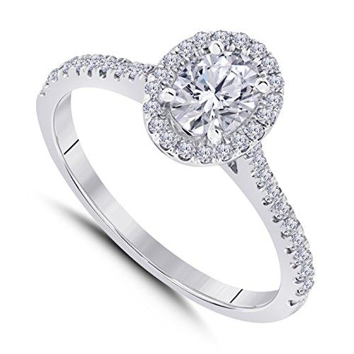Star Oval Shape Ring - Star Retail 14k White Gold Plated Alloy Forever Beautiful Oval Shape CZ Diamond Halo Engagement Ring 1 ct