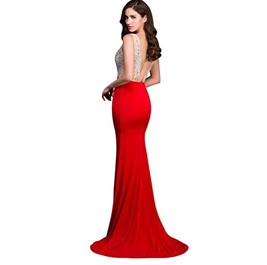 pengweiEvening dress long Mermaid evening dress red high split Pearl evening gown: Amazon.co.uk: Sports & Outdoors