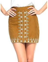 Women's Faux Suedette Button Closure Plain A-Line Mini Skirt