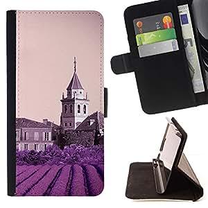 For Apple (5.5 inches!!!) iPhone 6+ Plus / 6S+ Plus Case , Naturaleza Castillo púrpura de la flor- la tarjeta de Crédito Slots PU Funda de cuero Monedero caso cubierta de piel
