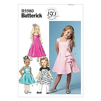 Butterick Schnittmuster 5980 – Kinder/Mädchen Kleid Größen: 6–122 ...