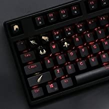 All Decor Overwatch Theme Keycaps Hand-Engraved Resin Translucidus Backlit Key caps for Mechanical Keyboards (cherry switches) With Gift Case - Mercy