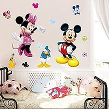 Fangeplus(TM) DIY Removable Disney Mickey and Minnie Mouse Art Mural Vinyl Waterproof Wall Stickers Kids Room Decor Nursery Decal Sticker Wallpaper 35.4''x23.6''