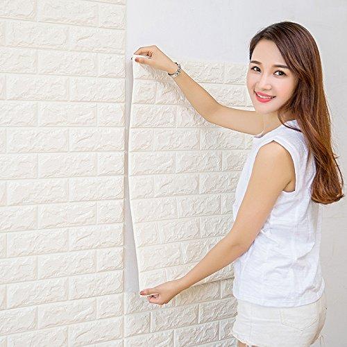 CUKULIFE 3D 立体壁紙 レンガ 壁用 シート シール のり付き ブリックタイル レンガタイル フォームブリック ブリックシート レンガ柄 アクセントクロス リメイクシート 3D 立体壁紙 クッション壁紙 板壁 軽量 リフォーム リビング 子供部屋 内装 60cmx60cm (ホワイト, 30) B07BMXBRHT ホワイト|30 ホワイト