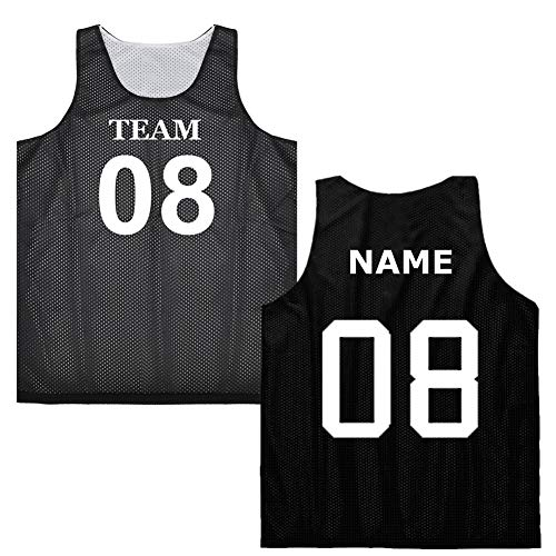 TOPTIE Custom Basketball Jersey (Both Sides Name/Number) Reversible Mesh Tank Top Scrimmage Jersey-Black/White-S