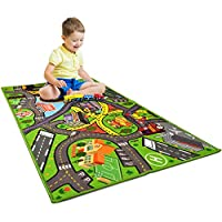 "Car Rug Play Mat - Kids Carpet Playmat - Road Rug for Toy Cars - Large 60"" x 32"" Toy Car Rug for City Life Road Traffic Educational, Learn & Have Fun Safe, Best Road Carpet for Playroom & Kid Bedroom"