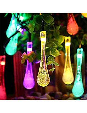 Outdoor Solar String Lights Waterproof, Solar Lights Outdoor Fairy Waterdrop lights with 30 LED, 8 Modes, for Home, Patio, Lawn, Garden, Party, Wedding, Christmas, Dating, and Holiday - Christmas Lawn Lights