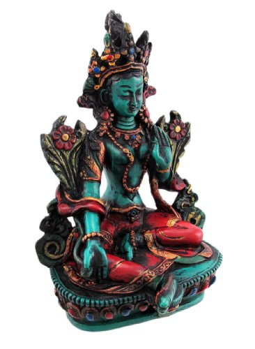 Things2die4 Resin Statues Z-Cl-108 Buddhist Green Tara Resin Statue Mother Goddess 4 X 6 X 3.25 Inches Green