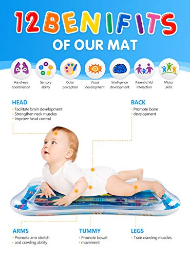 Tummy Time Water Play Mat, 7 Upgrade [New] Inflatable Infant Baby Toys & Toddlers Fun Activity Play Center for Boy…