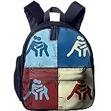 Mortimer Gilbert Funny Catch Wrestling Pop Art Kids School Bags Backpack Boys Girls Bookbag