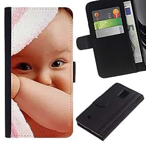 iBinBang / Flip Funda de Cuero Case Cover - Bebé lindo - Samsung Galaxy Note 4 SM-N910