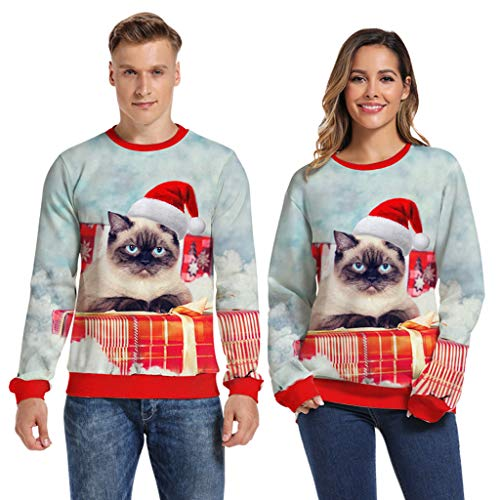 OMMR Women Ugly Christmas Sweatshirt Funny 3D Design Pullover Sweater for Xmas Holiday Party Blouse Tops Blue (Diy Up Christmas Sweater Light)