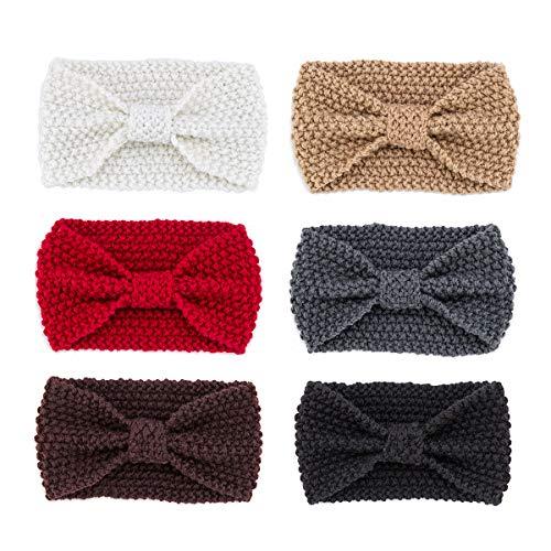 6 Colors Knit Headband Cable Knit Turban Winter Warm Head Wrap Ear Warmers Headband for Women Girls ()