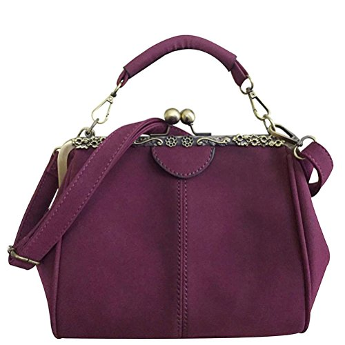 - Donalworld Women Retro Kisslock Handbag Purse PU Leather Bag Metal Frame Tote Purple