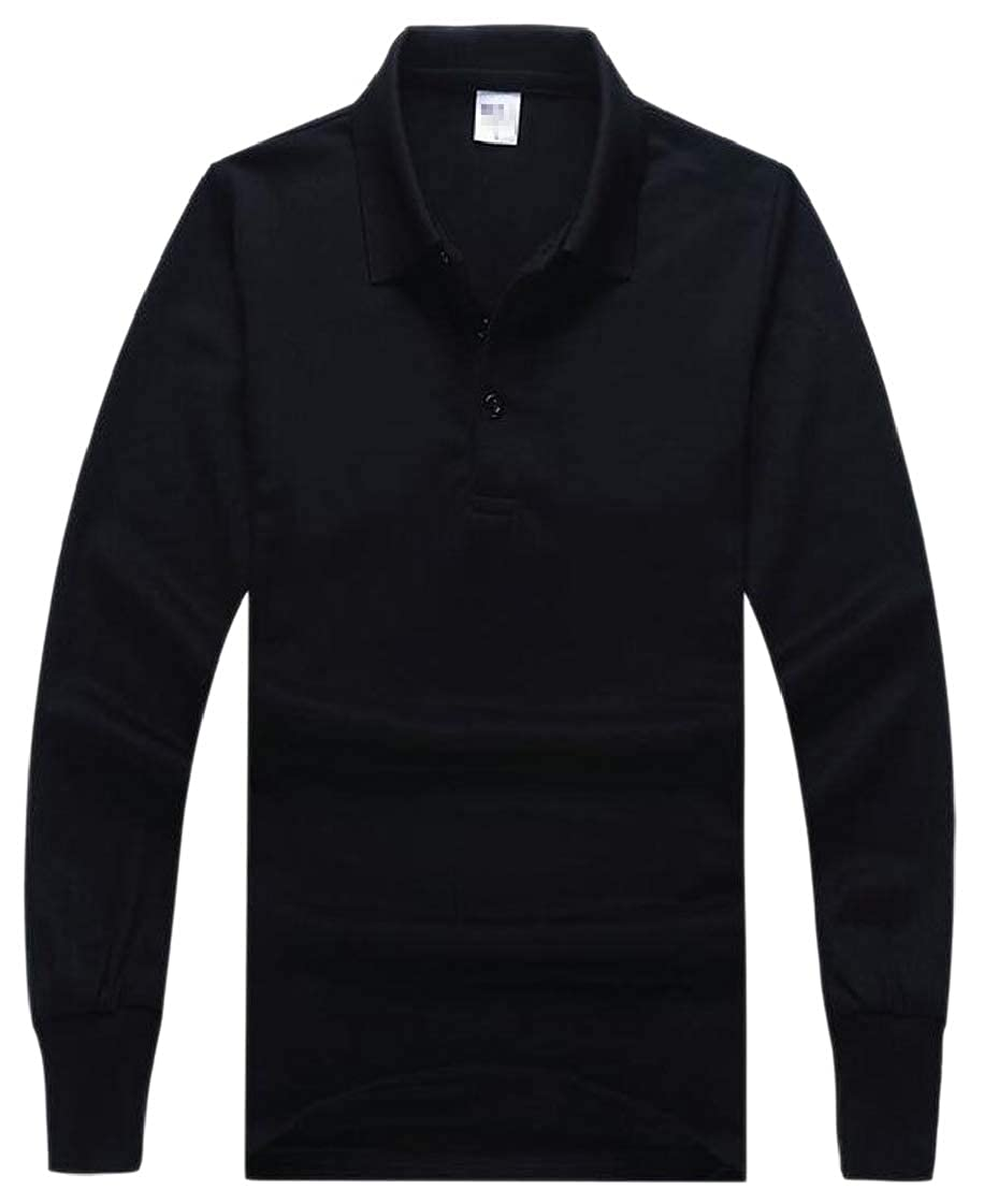 M/&S/&W Men Polo Long Sleeved Pullover Base Turn Down Collar Tshirt Tops