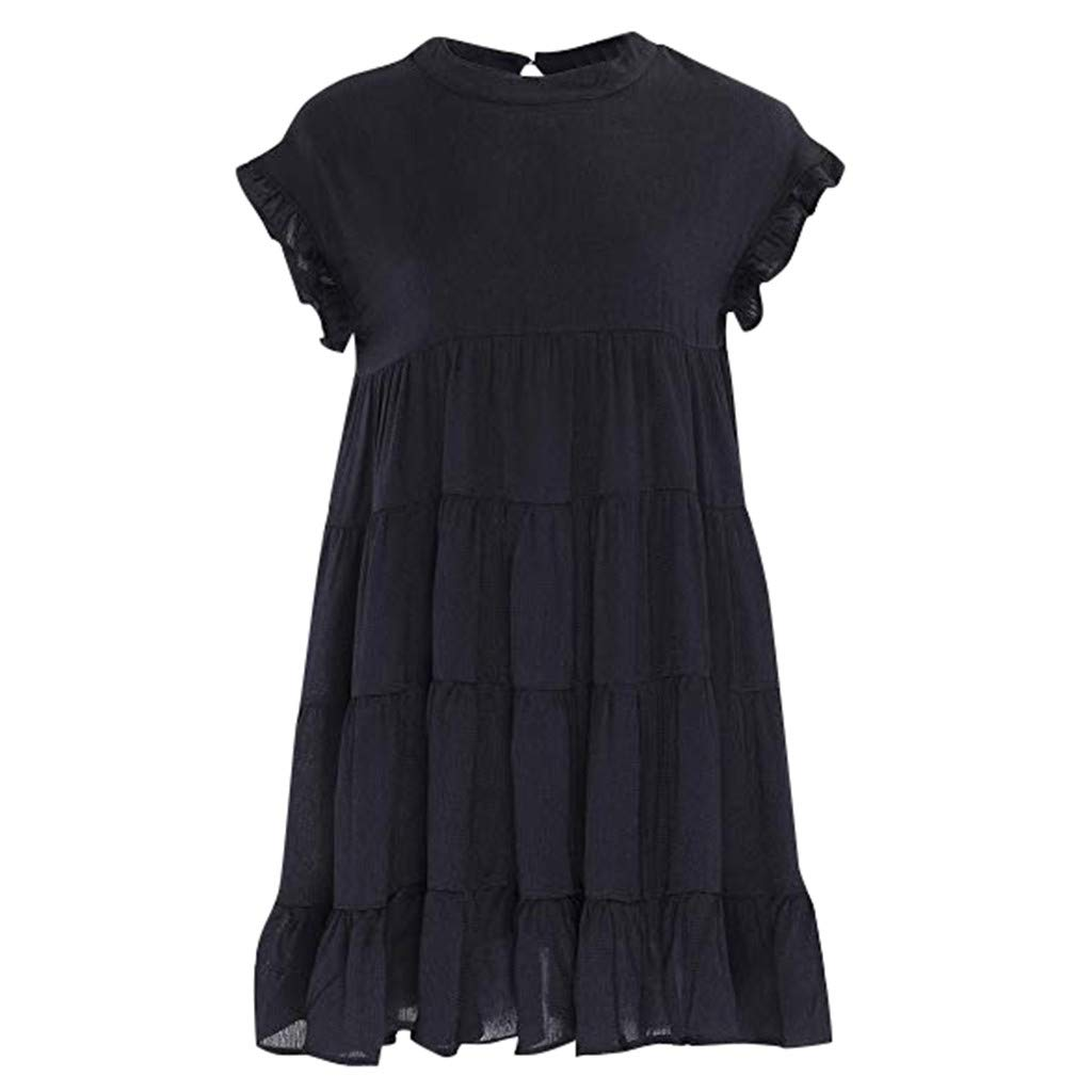 Clearance Swiusd Womens Ruffle Solid Color Mini Dresses Comfy Flowy Short Sleeve Dresses Loose Swing Beach Party Dresses