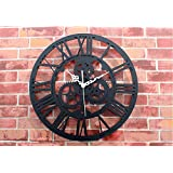 Reliable_E Home Decoration Black Gearwheel Vintage Large Wall Clock Modern Design Wall Art Living Room