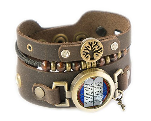 (Rani Shoket Beaded Bracelet - Hebrew Ten Commandments - Women size)