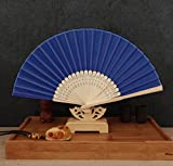 Deep Blue 50Pcs/Lot Handmade Chinese Classic Multi Colors Party Wedding Dancing Folding Lace Hand Fan Party Favor