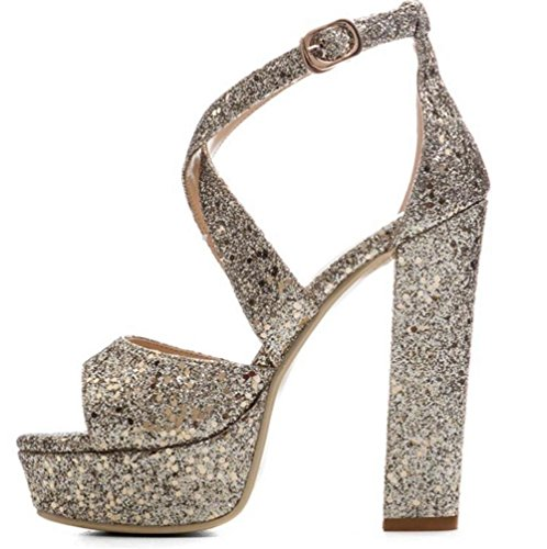 de Resplandecer Sandalias Lentejuelas Tac Alto mujer Bloquear Zapatos UnWZHF7A7