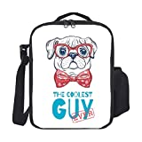 Kids Lunch Backpack Lunch Box Insulated Cute Pug Dog The Coolest Guy Ever Lunch Bag Lunch Boxes Cooler Lunch Tote with Shoulder Strap For Boys Girls Teens Women Adults