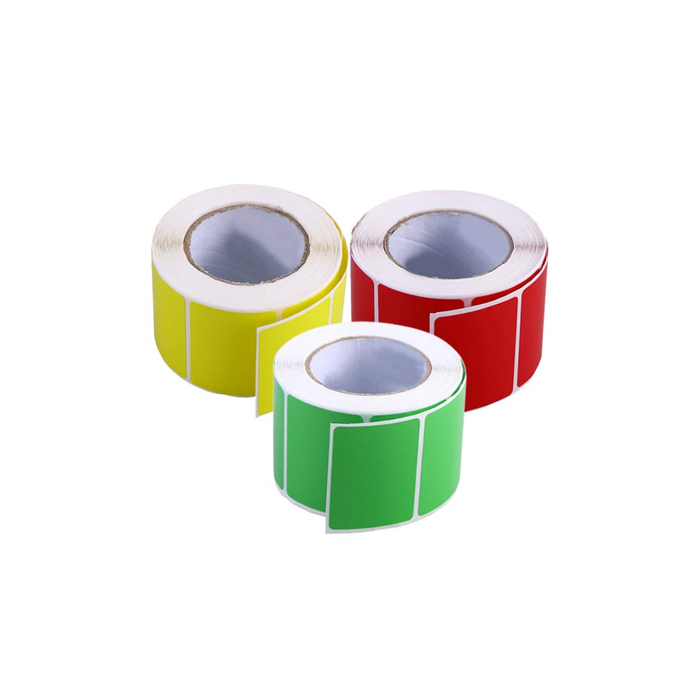 STOBOK Direct Thermal Labels,4x3cm,3 Rolls of 800 Labels Total(Red,Yellow and Green) by STOBOK