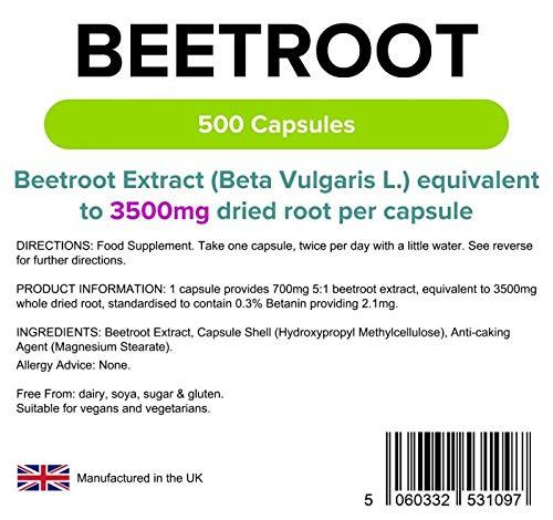 Lindens Remolacha superresistencia 3500 mg en cápsulas | 500 Paquete | Una fuente de nitratos dietéticos en una cápsula de liberación rápida y fácil de ...