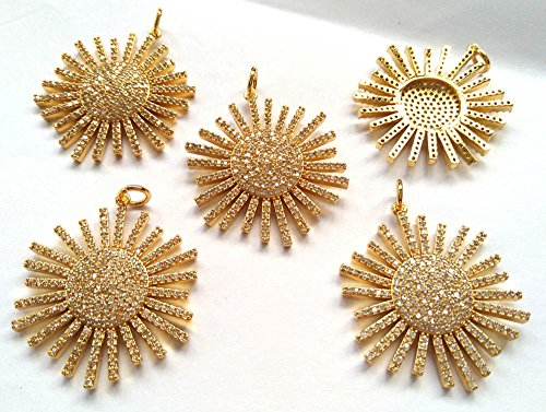 weekbeads 30mm Gold Sunflower Clear CZ Pave Flower Pendant, Cubic Zirconia Pave Sunflower Charm, Flower Choker Necklace Pendant 5 PCS