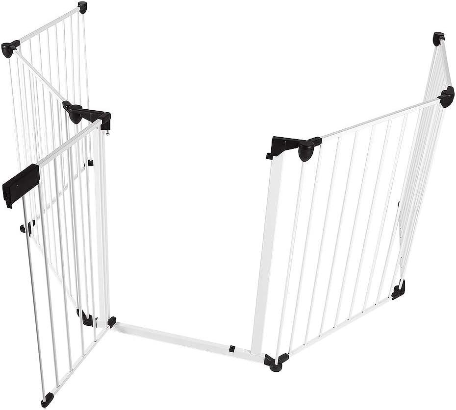 Barri/ère de S/écurit/é Enfant Grille Protection Chemin/ée Feux Bebe Pliable 5 Pi/èces Configurer Blanc, 5 Pi/èces