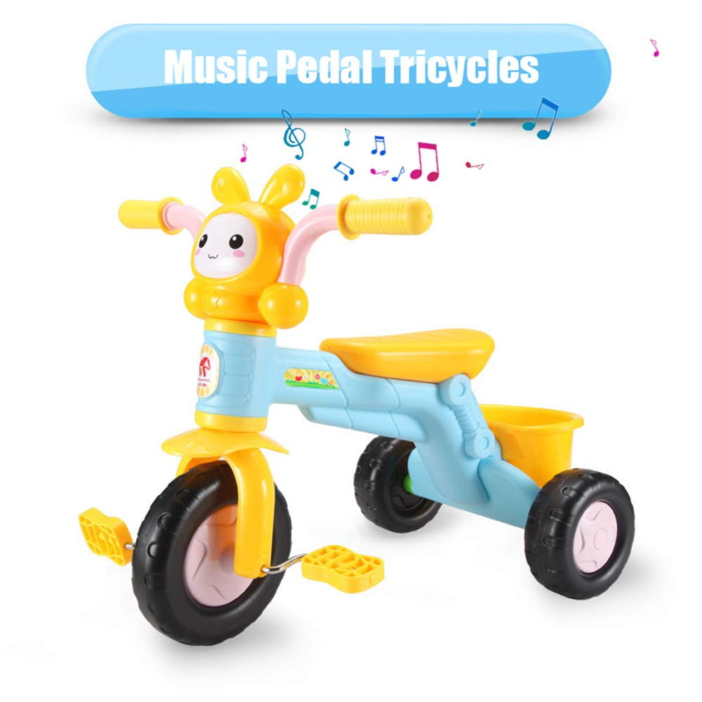qiaoniuniu Kids' pedal Tricycles music rider trikes bike with a big rear basket for children age 2-8 Years Kids great gifts for boys girls birthday Maximum Weight 75 kg -blue