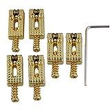 Yibuy Golden Metal Roller Bridge Tremolo Saddles & Wrench for Electric Guitar Set of 6