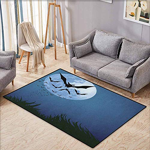 Pet Rug,Halloween,A Cloud of Bats Flying Through The Night with a Full Moon Fall Season,Ideal Gift for Children,4'11