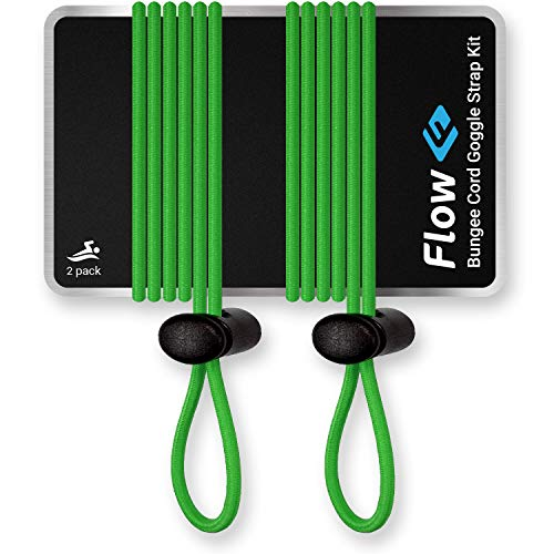 (Flow Goggle Strap Kit (2-Pack) - Replacement Bungee Cord Straps for Swim Goggles - Solid Colors (Solid Green))