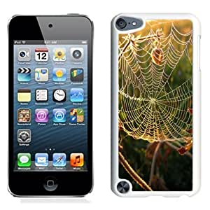 NEW Unique Custom Designed iPod Touch 5 Phone Case With Spider Web Close Up_White Phone Case