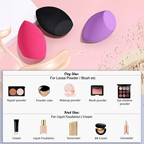 Makeup Sponges, Larbois 3-Pack Blender Beauty Foundation Blending Sponge, Professional Beauty Makeup Set for Dry & Wet…