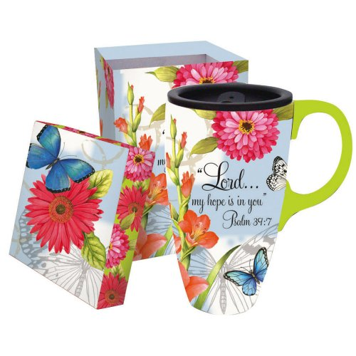 (Butterfly Blessings 17 oz. Boxed Ceramic Latte Travel Cup)