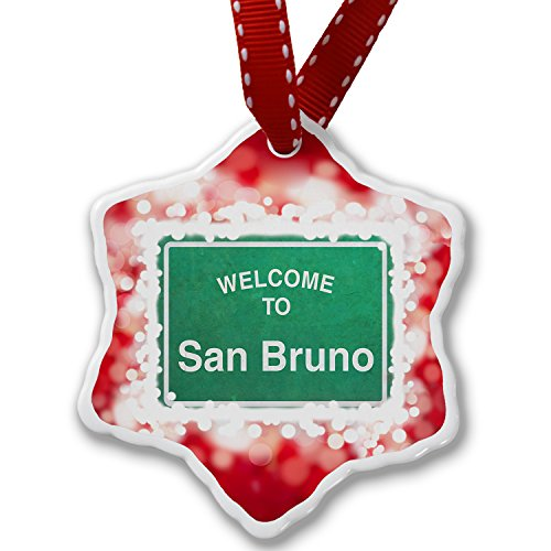 Christmas Ornament Green Road Sign Welcome To San Bruno, red - Neonblond