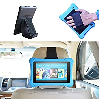 """Car Headrest Mount Holder Hand Strap or Kickstand for Kindle Fire - Kindle Fire 7 / HD6 / HD 7 / HD X7 / HD X 8.9 / HD X9 and Fire 7 / HD 7 / HD 8 Kid Edition and Other 7-10.5"""" Tablets"""