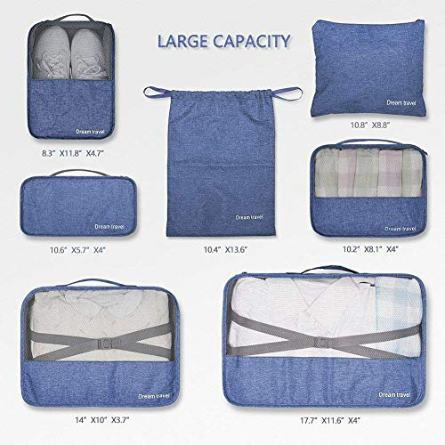 Packing Cubes Backpack Organizers Set for Carry on Travel Bag Luggage Cube (New Navy 7)