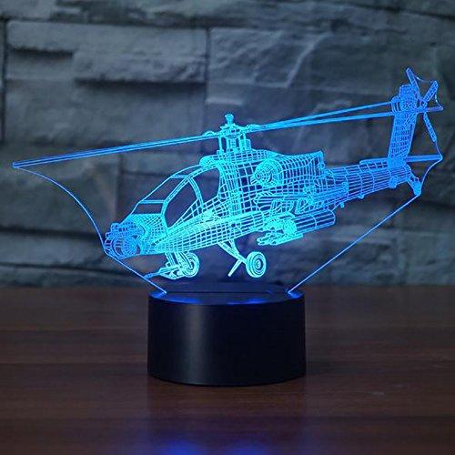 Tolle 7 Farbwechsel Acryl ber/ühren Tabelle Schreibtisch-Nachtlicht mit USB-Kabel f/ür Kinder Schlafzimmer Geburtstagsgeschenke Geschenk 3D Der hubschrauber Optische Illusions-Lampen