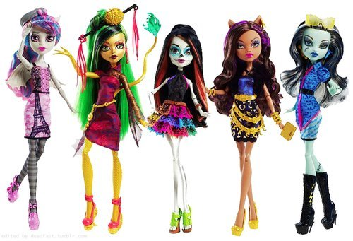 Set 5 Monster High Dolls Scaris Night Skelita Jinafire Frankie Clawdeen Rochelle ()