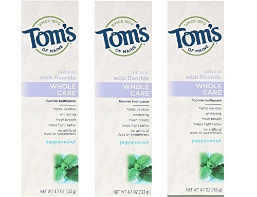 Tom's of Maine Whole Care Fluoride Toothpaste Peppermint 4.7 Oz. (Pack Of 3)