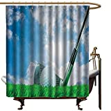 Shower Curtain,Sports Decor Collection Golf Ball and Iron Club on Grass and Cloudy