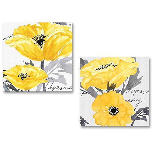 Gray Yellow Flower Floral Canvas Wall Art Modern Prints (And Yellow Art Canvas Gray Wall)