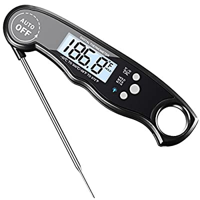 Meat Thermometer, HABOR Instant Read Thermometer Backlit Light Digital Cooking Thermometer, Accurate, Foldable with Large LCD, Auto Turn On for Christmas Turkey BBQ Grill Baking Smoker
