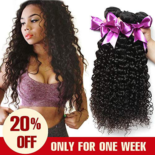 Dream Like 10A Curly Wave Human Hair 3 Bundles (24 26 28inch) Human Hair Bundles 100% Unprocessed Virgin Human Hair Deep Curly Hair Weaves Natural Color from Dream Like
